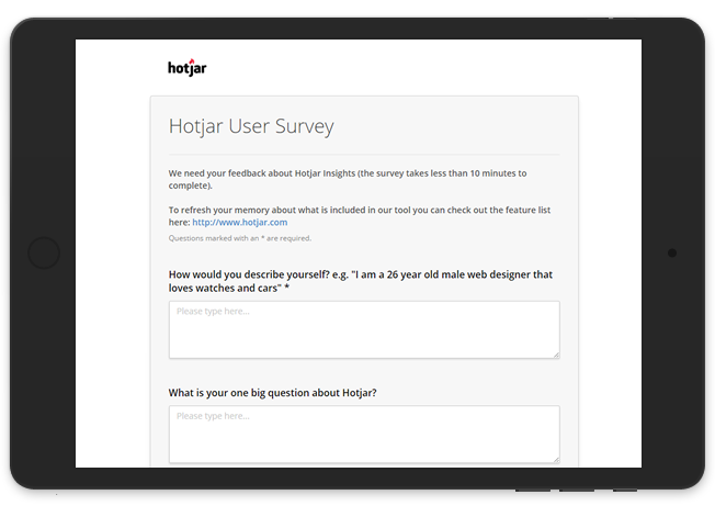 hotjar screener questions